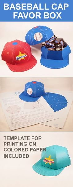 Create an awesome baseball cap favor box. Fun paper Crafts!