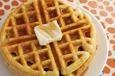 Pumpkin waffles with Bisquick and canned pumpkin-these are amazing topped with walnuts, brown sugar and whipped cream!