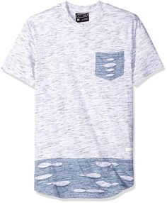 WT02 Men's Short Sleeve Marled Scallop Tee with Ripped Detail and Side Slit | AmazonSmile