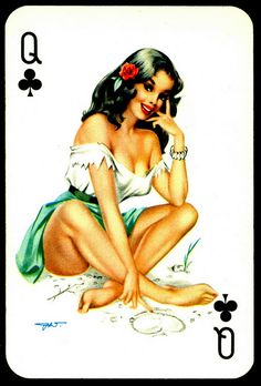 """Villiger"" Playing Card - Queen of Clubs"