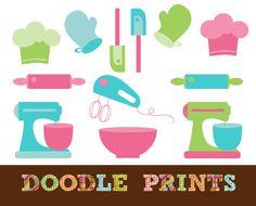 Digital Scrapbook Clip Art Printable - Baker Clipart - Baking Supplies - Kitchen Tools - Bakery - Baking - Personal & Commercial Use. $5.00, via Etsy.