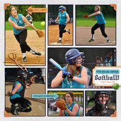 sport layouts for scrapbooking | Softball Layout | scrapbooking sports