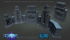 Heroes Of The Storm - Tomb Of The Spider Queen Crypt Walls And Structures, David Harrington on ArtStation at https://www.artstation.com/artwork/heroes-of-the-storm-tomb-of-the-spider-queen-crypt-walls-and-structures
