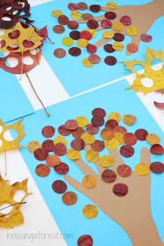 Fall Crafts for kids ~ Handprint Tree Craft Using Real Leaves