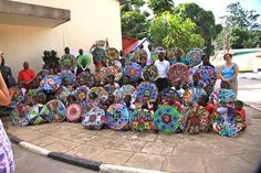 Mandalas made in collage format using various tradition printed cloth (Chitenge), Lusaka, Zambia
