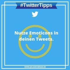 Deine Tweets bekommen mehr Aufmerksamkeit und damit auch Interaktionen, wenn du Emoticons nutzt. #Twitter #TwitterTipp #TwitterTipps #TwitterMarketing #SocialMedia #SocialMediaMarketing #SocialMediaTipps Facebook, Twitter, Social Media Marketing, Tips And Tricks