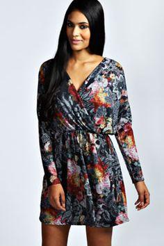 Jemima Brushed Knit Wrap Dress at boohoo.com