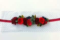 Wool Felt Flower Crown // Holiday Red Cranberry by fancyfreefinery