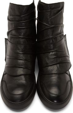 Alexandre Plokhov Black Creased Leather High Top Sneakers
