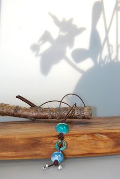 Halskette / Kette AprilBoten Leder grün blau weiss von DaiSign auf DaWanda.com
