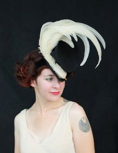 Vintage 1940s Style Black Felt Tilt Hat with Amazing White Faux Bird