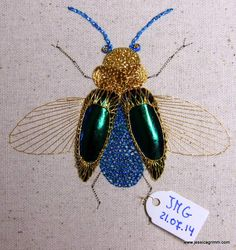 Blue beetle 'Wilhelmina' using gold threads, metallic threads and real beetle wings. Download available from my website: www.jessicagrimm.com