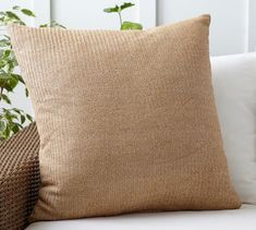 Faux Natural Fiber Indoor/Outdoor Pillow   Pottery Barn