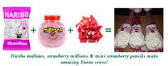 Let's get creative for Christmas. Sweet Cones, Christmas Sweets, Strawberry, Santa, Amazing, Creative, How To Make, Gifts, Food