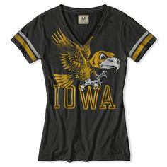 IOWA HAWKEYES WOMEN'S V-NECK T-SHIRT  Keeping a watchful eye on his beloved 'Iowa Hawkeyes', Herky stands proudly by your side as you strut into Kinnick with all the bravado of a true 'Hawk'.