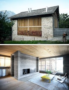 Redevelopment of a Barn by Armando Ruinelli, Soglio, Switzerland. - Redevelopment of a Barn by Armando Ruinelli, Soglio, Switzerland. Sustainable Architecture, Architecture Details, Swiss House, Old Stone Houses, Alpine Style, House Extensions, Elegant Homes, Modern Design, Barn