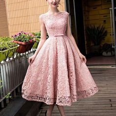 Elegant Bateau Tea-Length Pink Lace Prom/Homecoming Dress With Bow on Luulla