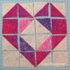 Sewing Block Quilts Diagram of Heart Block 1 - Lots of beautiful fast and easy tutorials that are perfect for Valentine's Day quilt projects. Heart Quilt Pattern, Quilt Square Patterns, Baby Quilt Patterns, Quilt Baby, Quilting Patterns, Beginner Quilt Patterns, Patchwork Patterns, Pattern Blocks, Sewing Patterns