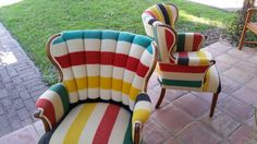 Camp blanket chairs by Under Cover Upholstery in Austin. Home Decor Furniture, Cool Furniture, Painted Furniture, Camping Blanket, Cool Chairs, Funky Chairs, Hudson Bay Blanket, Mission Chair, Flea Market Decorating