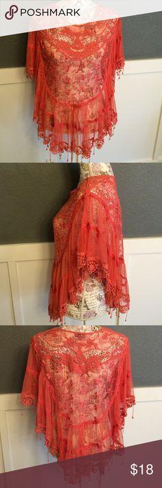 Persimmon Orange lace Shawl. Size M Size M. Lace shawl. Persimmon color. Mimi Sweaters Shrugs & Ponchos