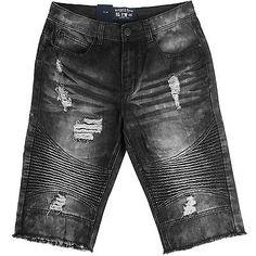 Bleecker & Mercer Biker Denim Shorts Mens S601-BK Black Jean Shorts Waist Sz 32