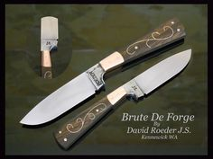 """3 1/2"""" 5160 carbon steel Brute De Forge. Dovetailed copper bolsters, Kamani wood scales with sterling silver wire inlay.  Hand finished blade with exposed temper line."""