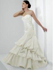 Mermaid Taffeta Asymmetrically Gathered Bodice Sweetheart Neckline Chapel Train Wedding Dress (J6146)