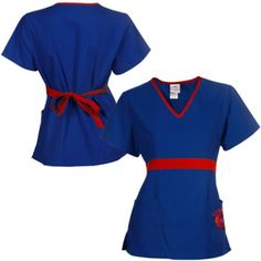 $24.95 Chicago Cubs Womens MLB Solid Wrap Scrub Top with Pockets - Royal Blue
