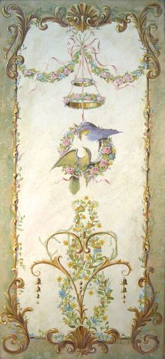 Large painted  panel with birds
