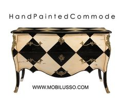Hand painted Bombe Chest French style with Bronze. Also, we are ...