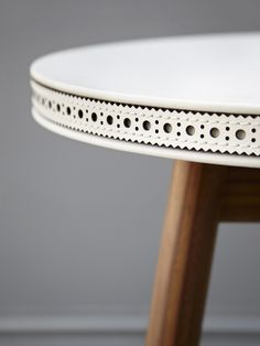 BETHAN GRAY BROGUE SIDE TABLE - OAK WITH WHITE