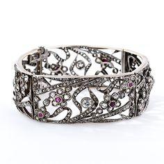 Victorian Diamond and Ruby Hinged Bangle Bracelet