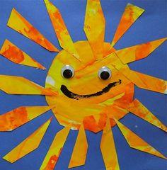 faire une peinture  dans les coleurs jaune/orangées. decouper pour faire un soleil