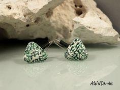 Polymer clay earrings triangles earrings green by AlenDarArt