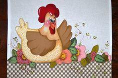 Pano de copa galinha com flores
