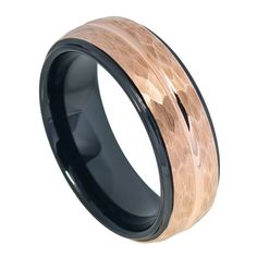 8mm Men Tungsten Wedding Band Ring Two-Tone Black IP Inside & Rose Gold IP Hammered Finish With Center Groove Stepped Edge