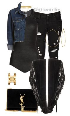 """Untitled #2594"" by highfashionfiles ❤ liked on Polyvore featuring Levi's, Lust For Life, Rick Owens, Eddie Borgo, rag & bone/JEAN, Phyllis + Rosie, Yves Saint Laurent and Tory Burch"