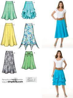 Además patrón de costura de la falda de tamaño por patterns4you