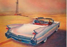 1959 Cadillac convertible Giant cow-boy 1959 Cadillac, Cadillac Ct6, Airbrush, Dream Cars, Convertible, Ideas, Air Brush Machine, Infinity Dress