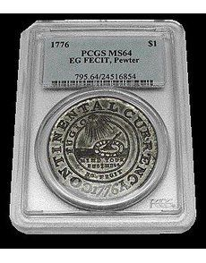 PCGS graded Garry Cucci's 1776 Continental Currency dollar in pewter Mint State 64. The Vermont collector purchased the coin in 1969 for $1, but did not receive confirmation that it is genuine until this year.