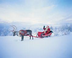 Joulupukki, reki ja poro