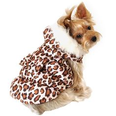 Simply Dog Leopard Print Dog Hoodie Jacket, Brown, (Multiple Sizes Available)