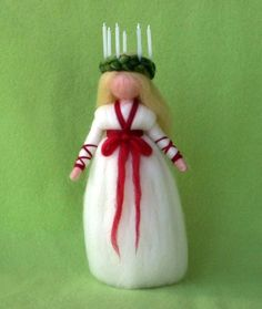 LUCIA GIRL CHRISTMAS DECORATION ANGEL NEEDLE FELTED WOOL - she's so sweet!