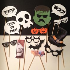 Halloween Photo Booth Prop - props on a stick, Halloween party, Halloween photos,