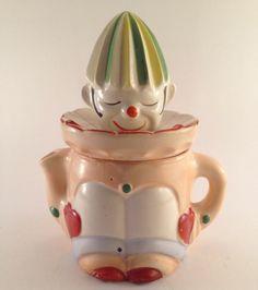 Porcelain clown juicer w/ spout 1920s antique 2 piece rare made in Japan