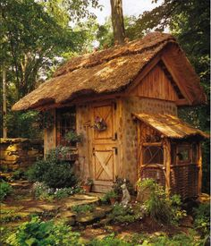 Garden shed?A place to dream? Just a cute tiny house! Would love this as a garden shed esp. with dutch door Gazebos, She Sheds, Thatched Roof, Thatched House, Potting Sheds, Potting Benches, Cabins And Cottages, Log Cabins, Rustic Gardens