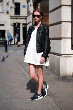 black x white: black leather jacket + white summer dress + black and white sneakers