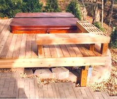 Great Hot Tub Deck Finishes Off Your Spa With Class and then add privacy wall, benches for pool items, etc. Hot Tub Privacy, Privacy Walls, Hot Tub Deck, Hot Tub Backyard, Backyard Patio, Wedding Backyard, Backyard Ideas, Whirlpool Deck, Deck Finishes