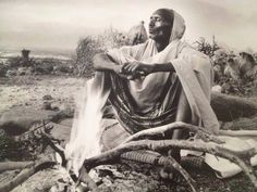 Vintage photo of a Somali nomad in the desert
