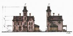 Elevation of the Addams house in Addams Family Values (1993) | Production design: Ken Adam (1921-2016)